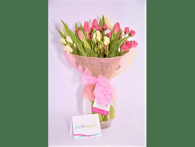 Florero Tulipanes y Minirosas