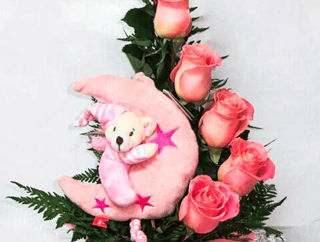 Nacimiento Rosas y Peluche Musical