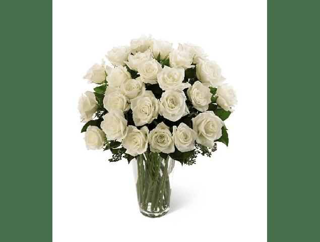 Florero 30 Rosas Blancas
