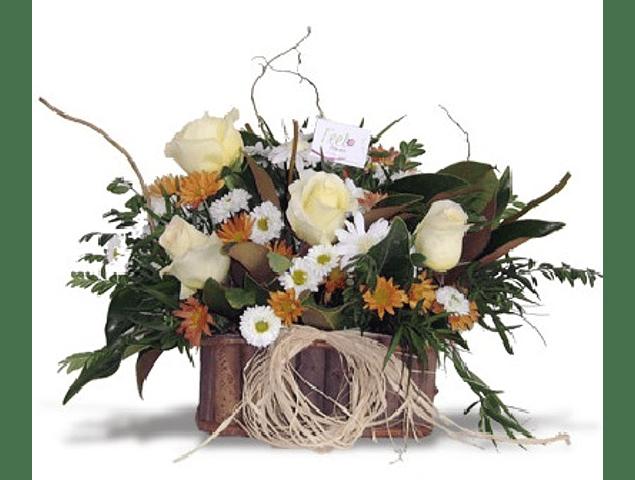 Arreglo Rectangular Rosas Blancas