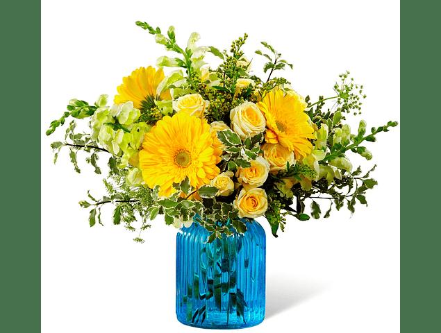Florero Azul Mixto de Flores Amarillas
