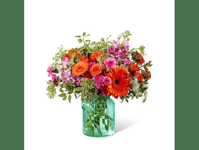 Florero Verde Agua con Flores Mixtas Dos Tonos