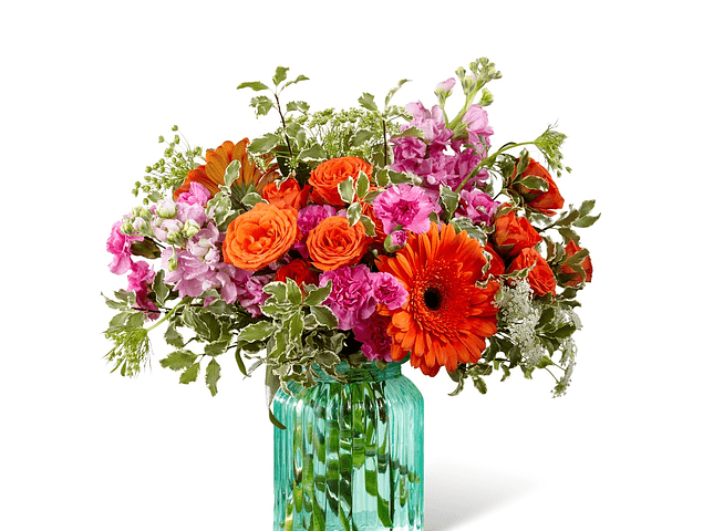 Florero Cerámico Verde Agua con Flores Mixtas Dos Tonos