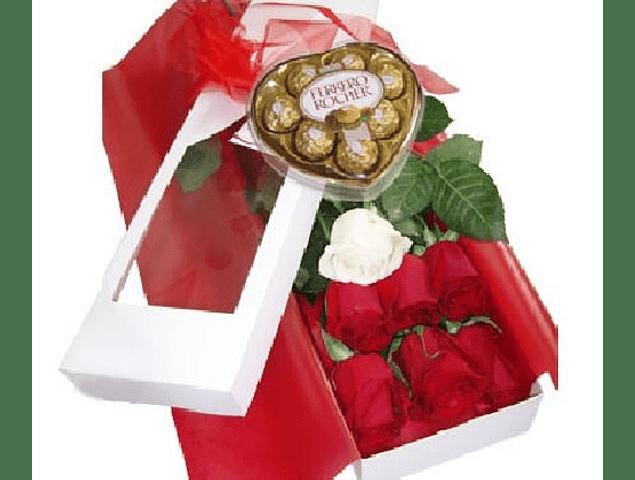 Caja 7 Rosas y Corazón Ferrero Rocher
