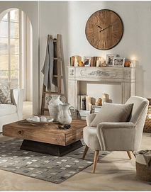 Fabric and Wood Armchair - Beige