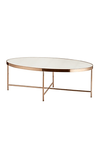 Oval Table in Metal and Tempered Glass