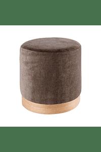 Vita - Puff in Fabric and Wood in Beige