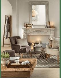 Vita - Fabric and Wood Armchair - Brown