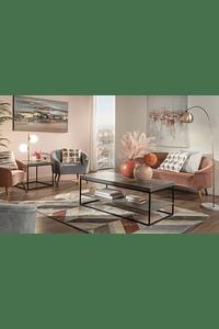 Glam - Sofá em Tecido e Madeira - Cinzento