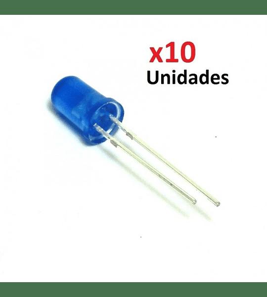 LEDS 5MM COLOR AZUL PAQUETE 10 UNIDADES