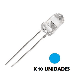 DIODO LED DE CHORRO 5mm AZUL 10 UNIDADES
