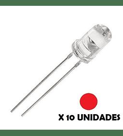DIODO LED DE CHORRO 5mm ROJO 10 UNIDADES
