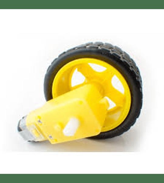 Motorreductor Amarillo Plástico con llanta Robótica