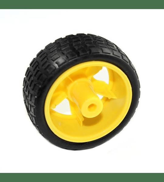 Llanta Robótica 65mm x 27mm para Motorreductor Plástico Amarillo