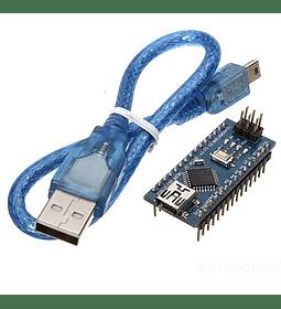 ARDUINO NANO V3 ATMEGA 328P CON PINES SOLDADOS + CABLE USB