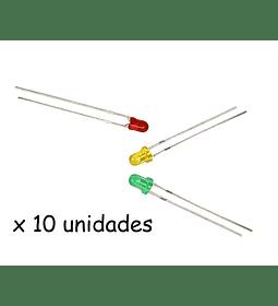 LEDS 3MM COLORES SURTIDOS PAQUETE 10 UNIDADES