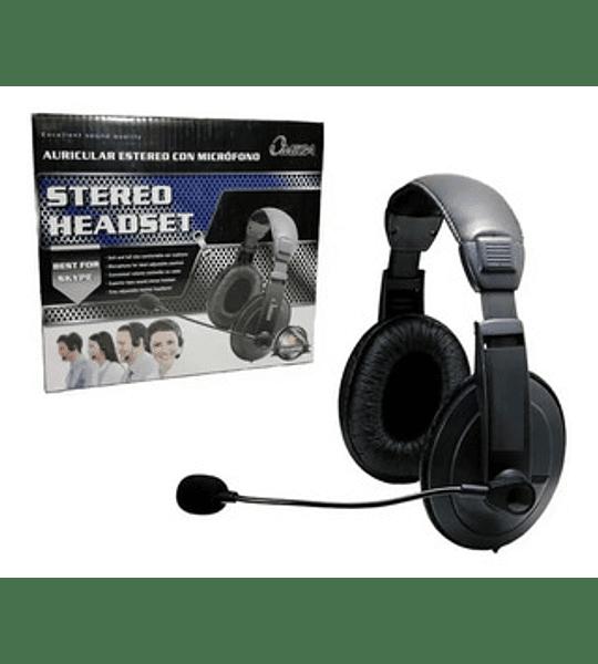 Diadema En Cuero Stereo Con Microfono Omega