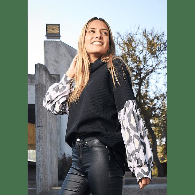Polerón Sofia Negro y Print