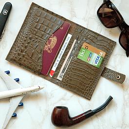 Porta Documentos Verde Textura