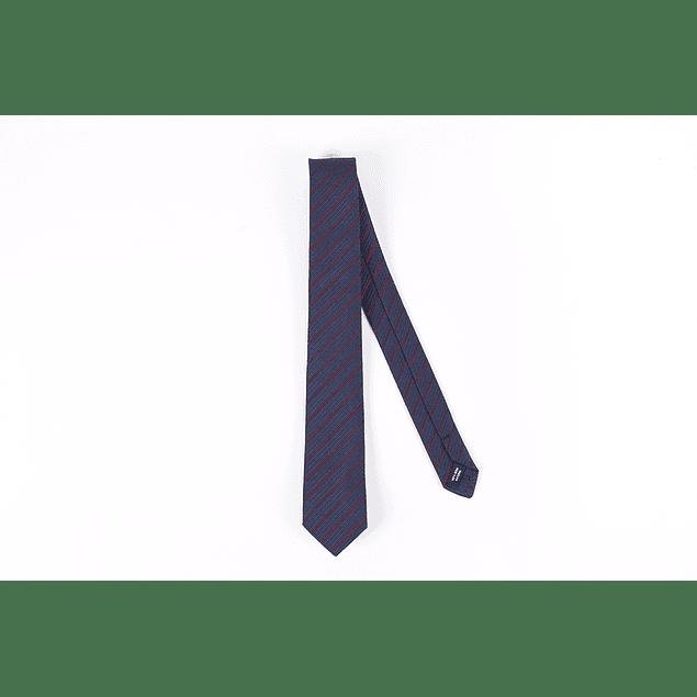 Corbata Azul Líneas Bordeaux