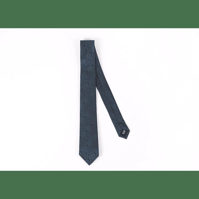 Corbata Negro flores azules