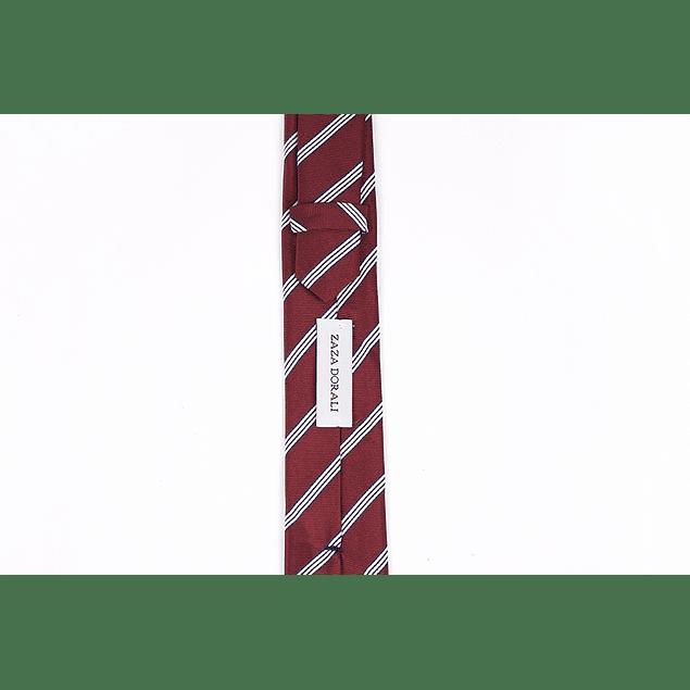 Corbata Rojo italiano líneas blancas