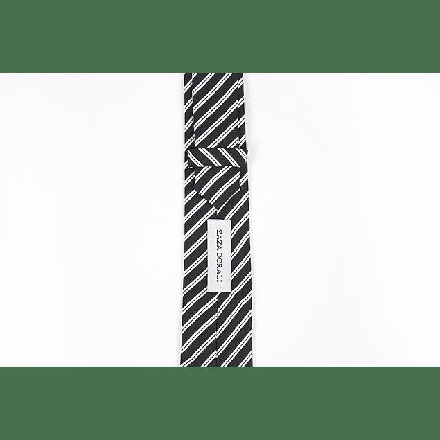 Corbata Negro líneas blancas