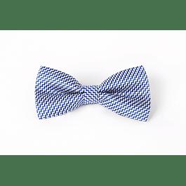 Corbatín Azul zigzag blanco