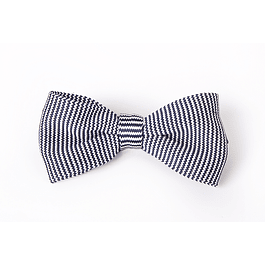 Corbatín Blanco y azul tejido