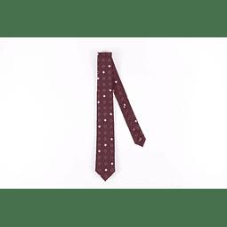 Corbata Bordeaux rombos blancos