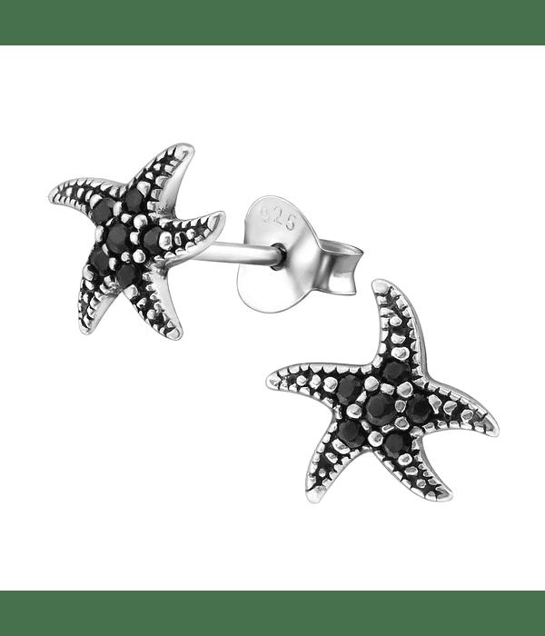 Aros Estrella del Mar  - Plata 925  con Zirconia Black