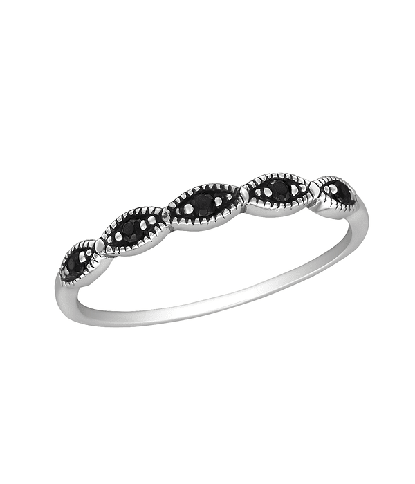 Anillo Ever - Plata 925 con Zirconia Black