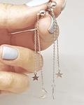 Aros Pendientes Luna & Estrella  - Plata 925