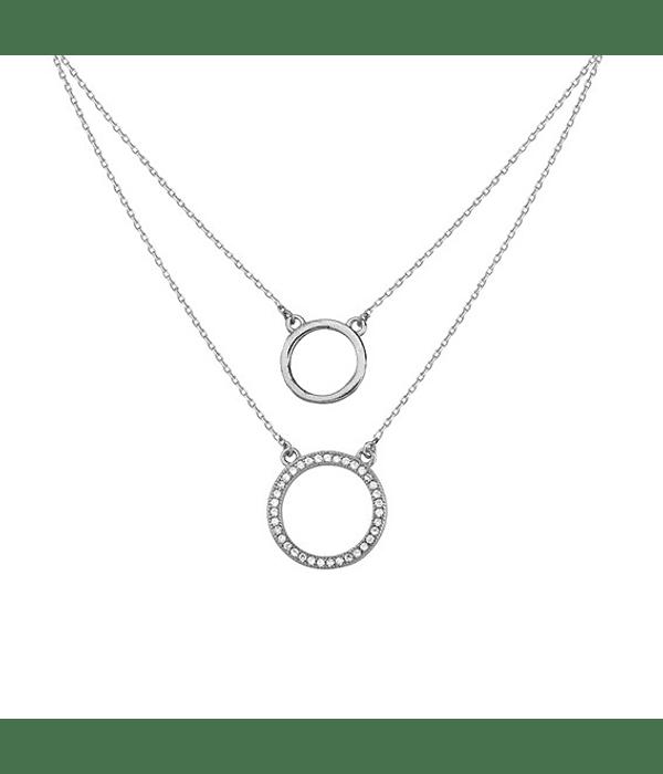 Collar Dos Circulos - Plata 925 con Zirconia