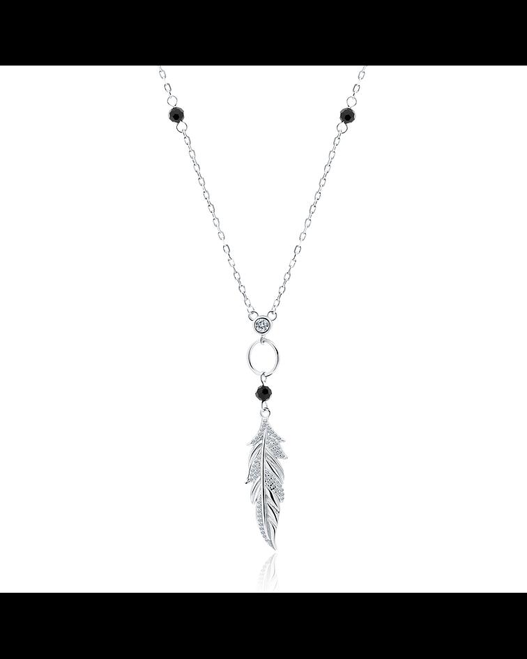 Collar Pluma - Plata 925 con Espinela Black y Zirconia