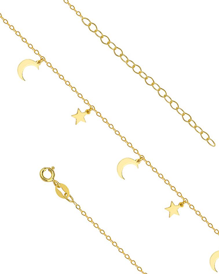 Tobillera Luna & Estrella - Plata 925 Sterling Chapado en Oro