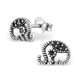 Aros Elefante - Plata 925 Sterling con Zirconia Black