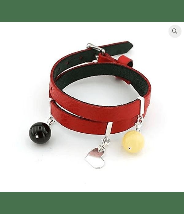 Pulsera de Cuero con Charms de Plata 925 y Ambar - Rojo