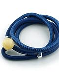 Pulsera Cuero Boton - Azul