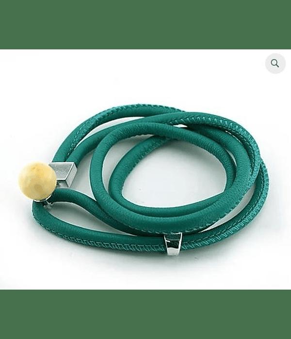 Pulsera Cuero Boton - Verde