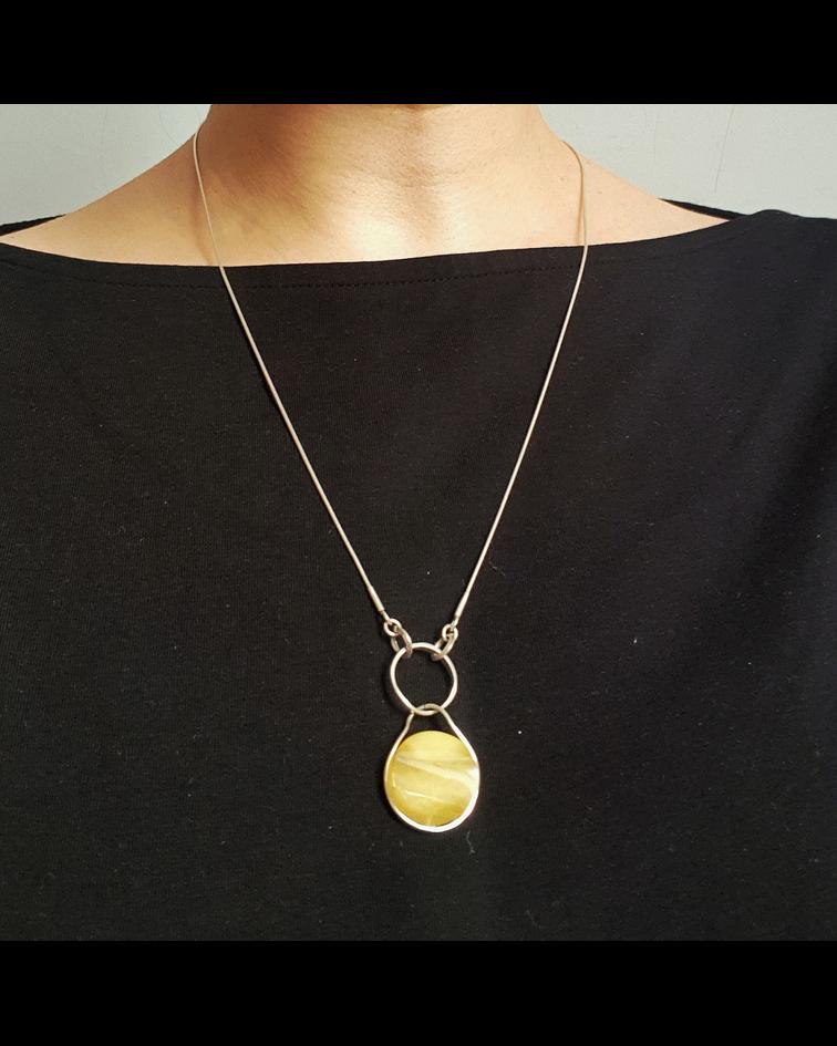 Collar One Ring Plata 925 con Ambar