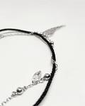 Pulsera con pendiente  Ala de Angel - Hilo Negro y Plata 925 con Zirconia