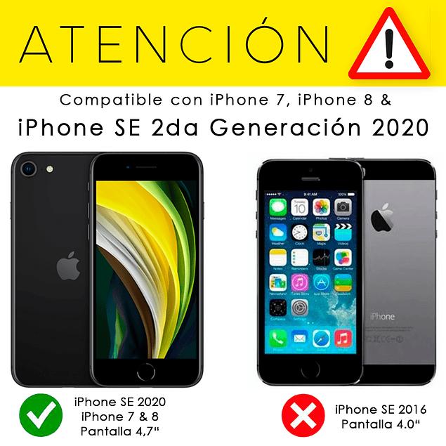 Carcasa Negra Silicona Logo iPhone SE 2020 y iPhone 7/8