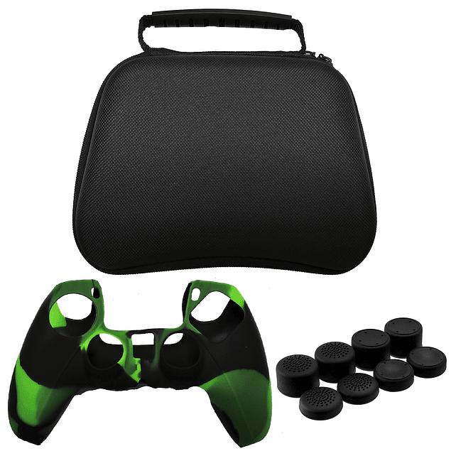 Pack Protector Control Ps5 Dualsense Bolso + Silicona Verde Camuflado + Análogo