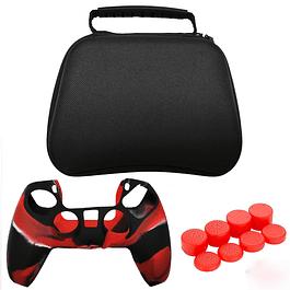 Pack Protector Control Ps5 Dualsense Bolso + Silicona Rojo Camuflado + Análogo