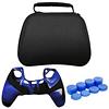 Pack Protector Control Ps5 Dualsense Bolso + Silicona Azul Camuflado + Análogo