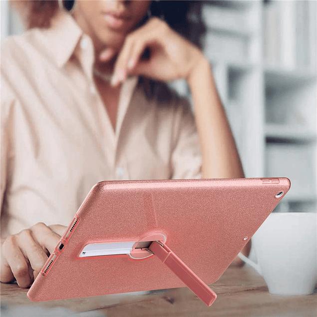 Carcasa Brillante Glitter Dorado iPad 10.2 7ma y 8va Gen Con Soporte