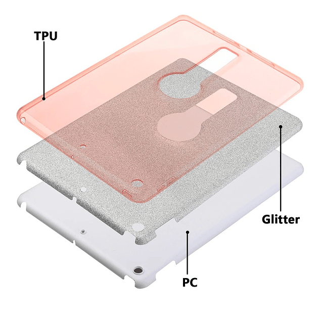 Carcasa Brillante Glitter Rosa iPad 10.2 7ma y 8va Gen Con Soporte