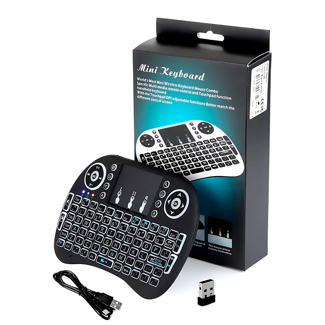 Teclado Smart TV Luz retroiluminado inalambico recargable 2en1