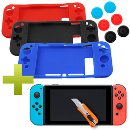 Funda Carcasa Silicona + Vidrio + Analogo Nintendo Switch